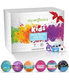 Sky Organics Kids Bath Bombs Gift Set Best Bath Bombs, Natural Bath Bombs, Essential Oils For Kids, Natural Essential Oils, Gender Neutral Toys, Best Skin Care Brands, Bath Bomb Gift Sets, Bomb Making, Bath Fizzies