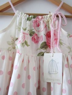 Baby Girl Easter Dress-pink cotton cream shabby by ChasingMini