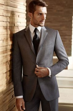 Dark gray for the groom