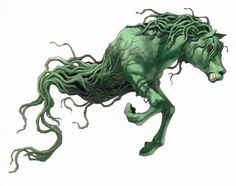 # KELPIE - celtic myth: An evil horse that offered a ride to travelers but then turn its skin adhesive, sticking its riders to its back with no means of escape. It would then jump into the water and drown its riders.  Actuality: a myth created to scare travelers