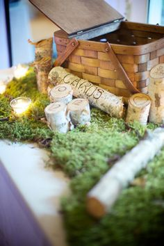 Picnic Basket for the Cards on a bed of Moss with Birch wood details created by Storyboard Wedding Photograph by Weddings by Two http://www.storyboardwedding.com/natures-influences-in-this-fall-prospect-park-picnic-house-brooklyn-wedding/
