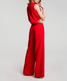 Red Mock Neck Jumpsuit - Women #zulily #zulilyfinds
