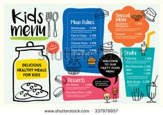 Cute colorful kids meal menu placemat design vector template Any person can develop a residence sweet home, even when the price range is tig. Menue Design, Food Menu Design, Restaurant Menu Design, Brochure Food, Brochure Design, Menu Template, Templates, Juice Menu, Kids Restaurants