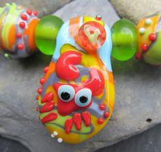 Chrissie Crab lampwork bead pendant bead set  by KitzbitzArtBeads, £34.00