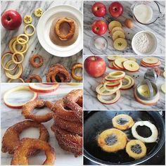Si estás aburrido de los famosos aros de cebolla, aquí tienes esta receta sencilla y saludable con manzanas.También en forma de anillo, las manzanas con un toque de canela, se convertirán en un delicioso postre casero. Es posible que necesites una herramienta para corte circular, pero si no tienes a mano, sólo tiene que utilizar un cuchillo regular.    Ingredientes: - 4 manzanas grandes - 1 taza de harina - 1/4 cucharadita de polvo de hornear - 2 cucharadas de azúcar - 1/4 cucharadita de…