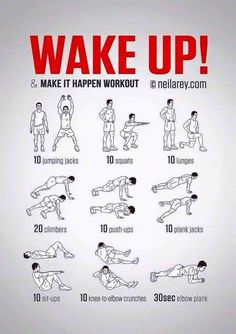No-equipment body-weight workout for starting your morning on a high. Infamous Wake Up & Make it Happen workout. Visual guide: print & use. busy mom, healthy mom, health and fitness, healthy food, health tips Fitness Workouts, At Home Workouts, Body Workouts, Training Workouts, Body Weight Exercises, Cardio Workouts, Interval Training, Fitness Weights, Short Workouts