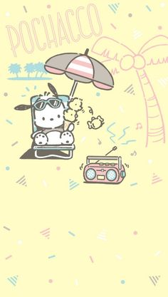 Pochacco laying out! Sanrio Wallpaper, Disney Phone Wallpaper, Wallpaper Stickers, Hello Kitty Wallpaper, Kawaii Wallpaper, Hello Kitty Characters, Sanrio Characters, Pochacco Sanrio, Keroppi