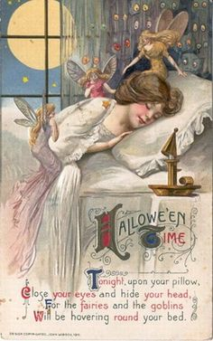 vintage-Halloween-woman-fairies-postcard