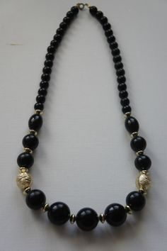 """Vintage Big Chunky Black Gold Tone Bead Necklace Costume Estate Jewelry 24"""" Long"""