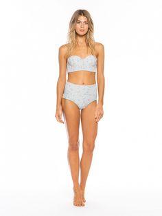 Tori Praver and Target's swimwear collaboration featuring the Midi Bandeau Bikini Top and High-Waist Bikini Bottoms both in Silver Floral