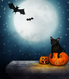Getting ready for Halloween...with a black cat jumping out of pumpkin and some bats flying in front of the moon.