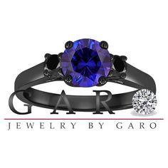Blue Sapphire & Fancy Black Diamond Three Stone Engagement Ring Vintage Style 14K Black Gold 1.28 Carat Birthstone Handmade