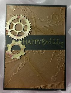 Masculine card  - with cogs cut on the Silhouette.