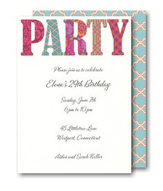 Pretty Patterned Party Invitation