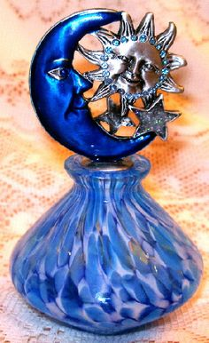 Sun Moon and Stars Swirled Blue Glass Enamel Pewter Perfume Bottle