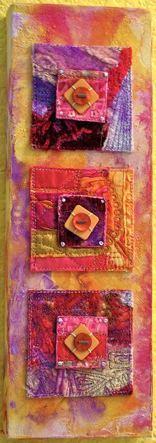 Round peg in a Square Hole- 4 X 12 inch  Fabric collage mounted onto stretched canvas; 'new' fabric made using cottons, lame, silks and velvet; machine stitching; hand stitching; buttons and beads