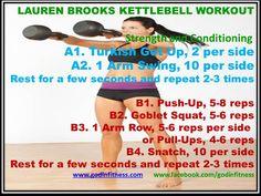 Lauren Brook Kettlebell Workout (Source Mottley Health) Kettlebell Class, Kettlebell Routines, Turkish Get Ups, Goblet Squat, At Home Workouts, Body Workouts, I Work Out, Cross Training, Health Fitness
