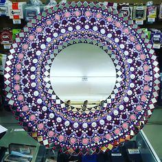 Dot Art Painting, Mandala Painting, Stone Painting, Mirror Crafts, Mirror Art, Mirror Ideas, Mandela Art, Round Canvas, Mandala Doodle