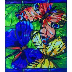 Mariposas de colores. Esquema para el bordado con abalorios. Precio 43,20€. Tamaño 35*30,5 cm.