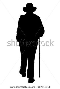 Vector drawing of an elderly man walking - stock vector