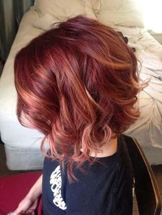 Auburn hair color is a staple fashion statement for hairstyle trend during fall season. Below, we have many ideas for auburn hair color ideas to guide you. Bob Hair Color, Hair Color And Cut, Haircut And Color, Red Bob Hair, Pixie Hair, Red Blonde Hair, Ombre Hair, Ombre Bob, Red Ombre