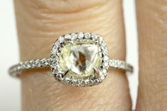 Unbelievably clear yellow rough diamond Classic engagement ring. #ditrjewelry #prettyring #jewelry