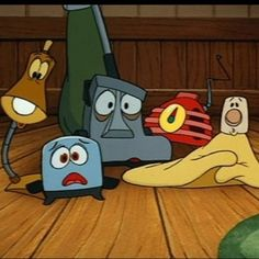 """Toaster (Sunbeam), Blanky, Radio (Bakelite), Kirby, and Lampy from """"The Brave Little Toaster"""" Setting: century American forest and city. Inspired by """"The Brave Little Toaster: A Bedtime Story for Small Appliances"""" by Thomas Disch."""