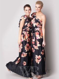 Lolita Flower Dress. A stunning full length dress by Australia designer Honey and Beau. A stylish print dress featuring a one shoulder frill detail and side split.