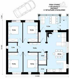 Фото 4: проект одноэтажный дом из пенобетона с тремя спальнями и сауной