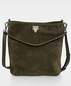 Big bucket bag w  buckle Suede army green - Bags 6c236331e1203