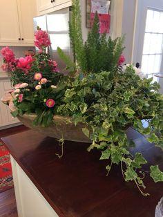 Spring arrangement in wooden dough bowl Floral Centerpieces, Table Centerpieces, Table Arrangements, Floral Arrangements, Flower Decorations, Table Decorations, Seasonal Decor, Holiday Decor, Wooden Dough Bowl