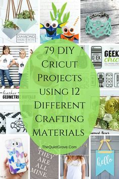 79 DIY Cricut Projects using 12 Different Crafting Materials Did you know that Cricut Explore machines can cut over 100 different Materials? Check out these 79 DIY Cricut Projects made with 12 Different Materials. Fun Diy Crafts, Creative Crafts, Diy Craft Projects, Cricut Project Ideas, Vinyl Crafts, Craft Ideas, Craft Box, Cricut Explore, Cricut Air 2