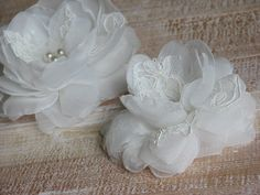 Wedding hair flower Ivory lace flower Ivory by WhiteBridalBoutique