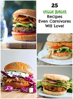 25 Delicious Veggie Burger Recipes Even Carnivores Will Love These flavorful veggie burger recipes will be the hit at your next bbq! Veggie Recipes, Real Food Recipes, Vegetarian Recipes, Cooking Recipes, Healthy Recipes, Vegan Meals, Vegetarian Barbecue, Hamburger Recipes, Vegetarian Cooking
