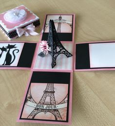 Explosion Box. Birthday, Paris Theme. Inside view. Using Cricut Explore, Eiffel Tower 3d image from Summer in Paris cartridge. Cat diecut from Marianne Designs