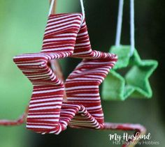 Looking for a quick and easy ornament idea?  Cookie Cutters and dollar store ribbon are used to make these adorable ornaments.  Great for gift giving , stocking…