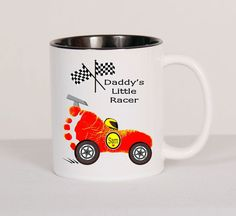 Race Car Baby Footprint Keepsake Mug Using by SpecialtyCreations4U