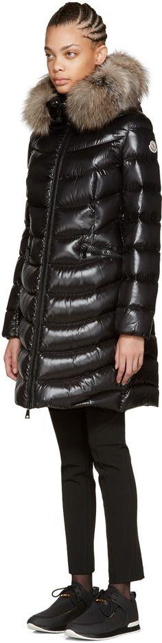 Moncler - Black Down & Fur Aphia Coat