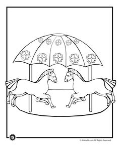 Carousel Horse Coloring Pages Merry Go Round Coloring Page