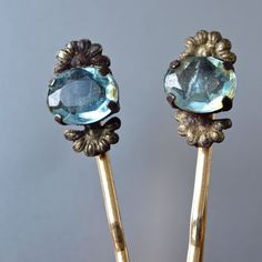 2 Vintage Hair Pins Czech Aquamarine Oval Brass Fan Hair Jewelry Art Deco