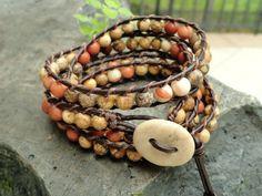 Earthy beaded leather wrap bracelet - chan luu style wrap - bohemian jewelry - rustic leather bracelet - beach stone