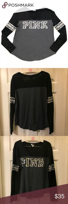 VS PINK Long Sleeve- Black & Gray Bling EUC. Victoria's Secret PINK bling, V neck, black and gray long sleeve with silver sequin PINK on front and sequins on sleeves. Size small. 😻 60% cotton, 40% polyester. PINK Victoria's Secret Tops Tees - Long Sleeve