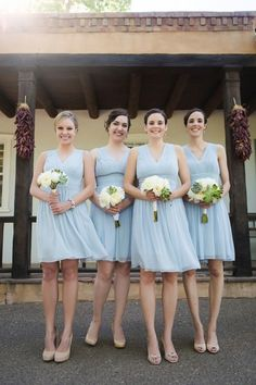 Spring bridesmaid dresses - short, light blue bridesmaid dresses with v-neckline and nude shoes {Tony Gambino Photography}
