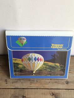 Blue Trapper Keeper with Hot Air Balloons by Mead with three folders | Great School Binder | Homeschool or High School | Retro 80's 90's by VintageFlicker