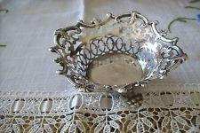 """ANTIQUE PIERCED  SILVER BOWL with 3 Paw Feet by """"W & C"""" marked"""