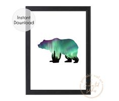 Northern Lights Bear Print A stunning UNFRAMED print featuring a Northern Lights forest scene within a bear silhouette. This Northern Lights bear forest print would make perfect wall art in a boys bedroom or nursery. Nursery Decor Boy, Boys Bedroom Decor, Nursery Prints, Nursery Wall Art, Nursery Ideas, Woodland Nursery, Room Ideas, Decor Ideas, Girl Nursery