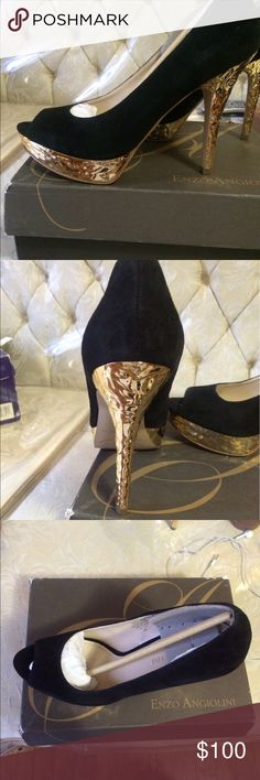 Enzo Anglioni size 10 platform suede heels Gorgeous black suede never worn in box. Size ten ... 4 inch heels with one inch flat form ...golden metallic covering heel.. Peep toe Enzo Angiolini Shoes Platforms