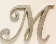 Silver Glitter Monogram Cake Topper Front to by LeandraNDesigns