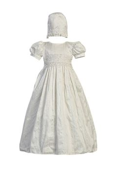 Lito White Silk Christening Baptism Gown with Laced Bodice and Matching Hat