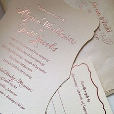Invitation From Shindig Paperie Letterpress Printed In Copper Foil Ink On Bamboo Paper Designed By Smock Invitations Stationery